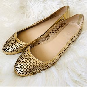 J. Crew gold leather perforated flats size 10